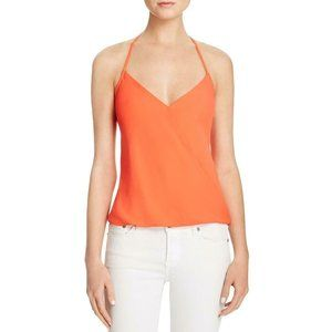 Womens Orange Crepe Surplice Neck Halter Top
